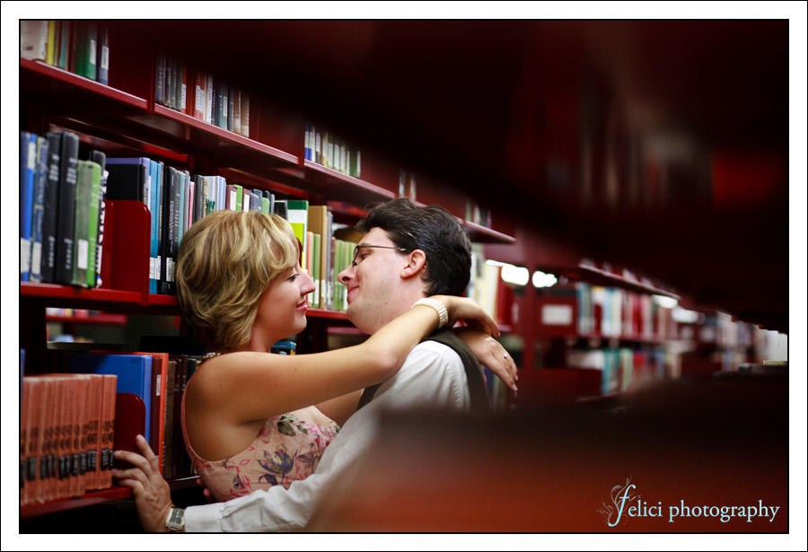 Engagement photos at UCLA library